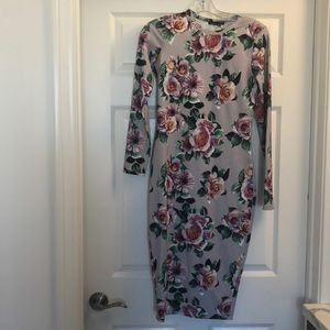 Zara Floral Long Sleeve Body-con